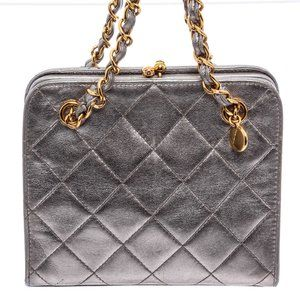 Chanel Metallic Silver Mini Quilted Kiss Lock Bag